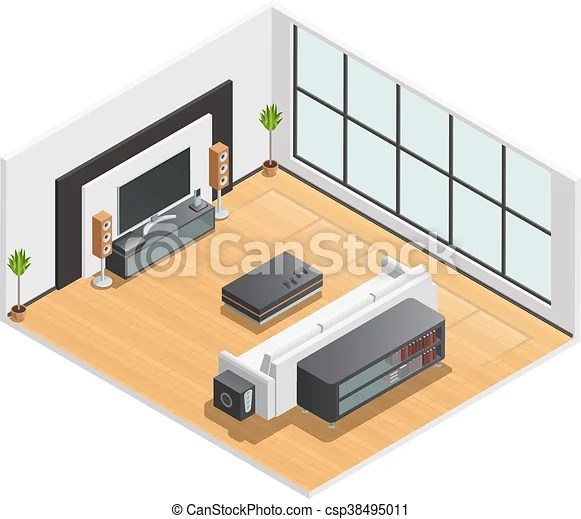 Living room interior isometric view poster Living room or vector - isometric view