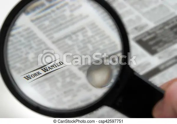 Looking for work Searching for a job through the newspaper sections