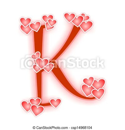 Love letter, alphabet k. Love alphabet decorated with hearts, uppercase or capital letter k