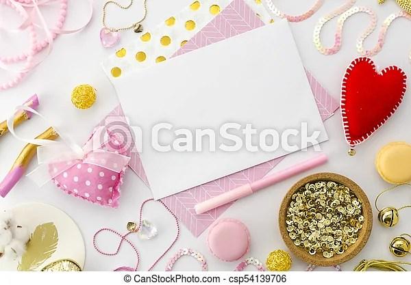 Love letter mock up for valentines day on pink background valentine