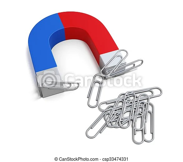 Magnet with paper clips 3d Magnet with paper clips isolated on