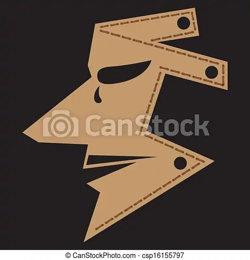 Man mask Brown man mask isolated on black, vector 10 encapsulated