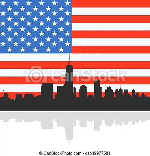 Manhattan skyline silhouette on the united state of america flag - America Flag Background