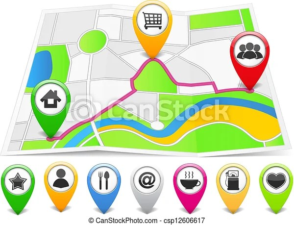 Map with map pins Map markers with different icons on the abstract - pins on a map