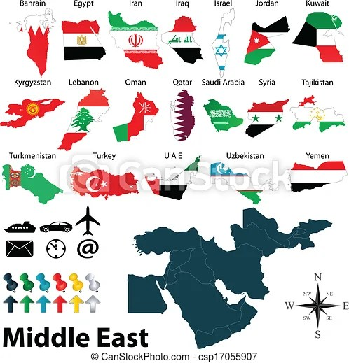 Maps of middle east Vector of political map of middle east set with