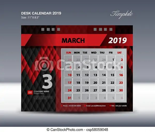 March desk calendar 2019 template, week starts sunday, stationery