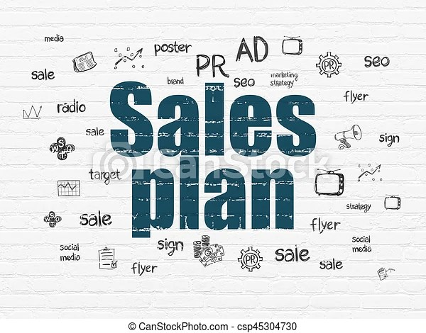 Marketing concept sales plan on wall background Marketing concept