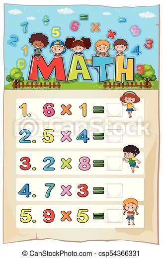 Math worksheet template with kids and multiplication vectors - math worksheet template