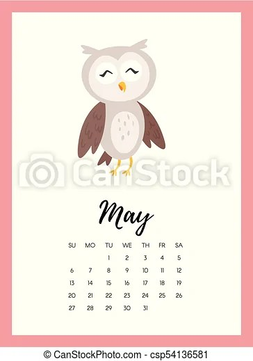 Vector cartoon style illustration of may 2018 year calendar page with
