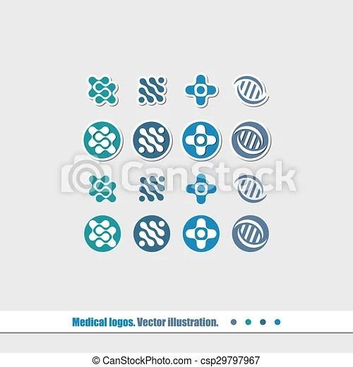 Medical logo A set of logos for medical companies vector illustration