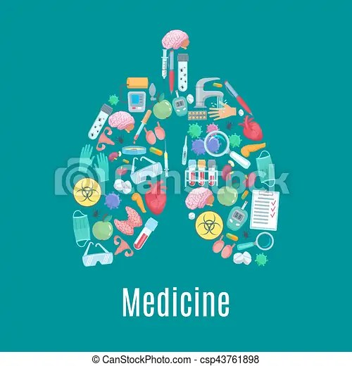 Medicine poster in shape of lungs organ Medical poster designed of