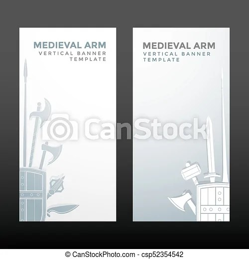 Medieval cold steel arms banners Vector silver white color various