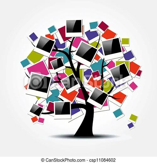 Memory family tree with polaroid photo frames Heritage family tree