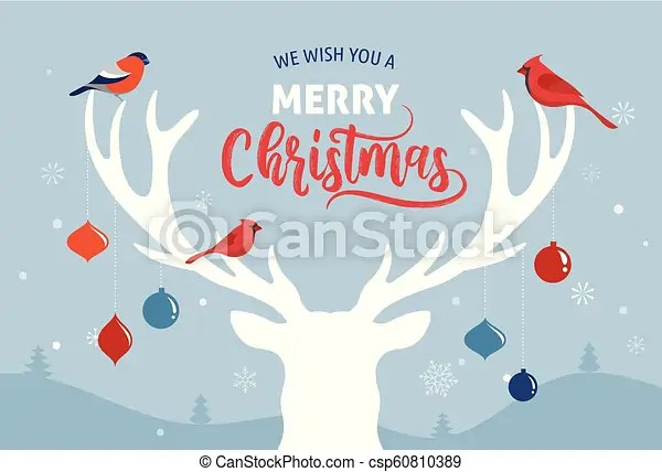 Merry christmas banner, xmas template background with deer