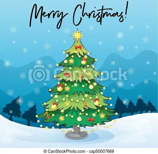 Merry christmas card template with christmas tree illustration