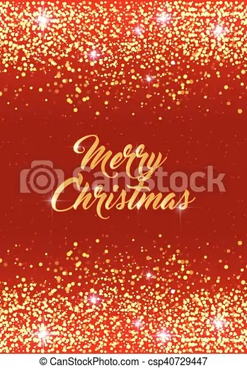 Merry christmas card vector holiday template with sparkles on red