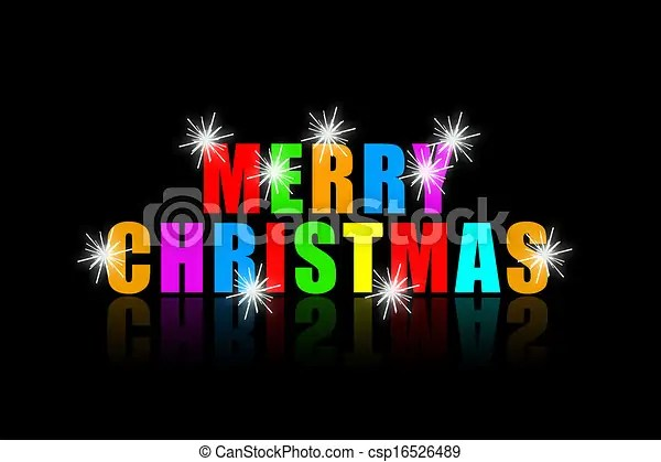 Merry christmas colorful phrase with bright sparkles on black