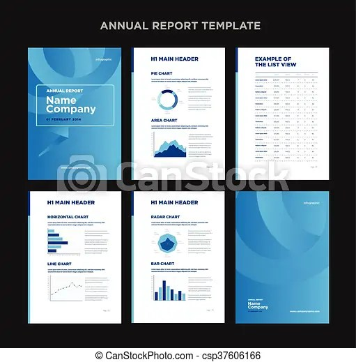 Modern annual report template with cover design and clip art - annual report template design