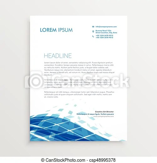 Modern letterhead template design with blue abstract wavy shape