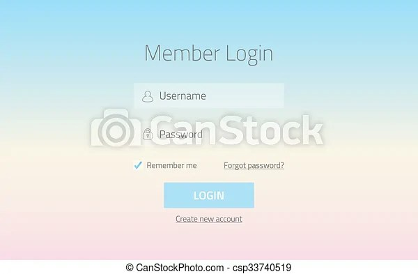 Modern member login website form with tranparent effect and gradient