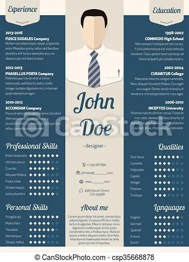 Modern resume cv template in blue New modern resume cv curriculum