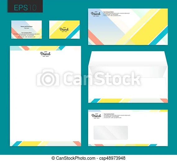 Modern stationery set in vector format, letterhead, business card