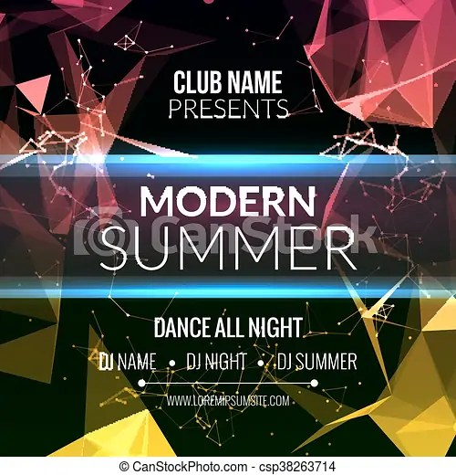Modern summer club music party template, dance party flyer - music brochure