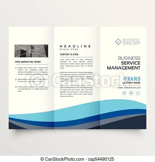 Modern trifold leaflet brochure design in blue wave shape vector - modern brochure design