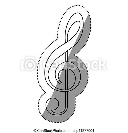 Monochrome contour silhouette with sign music treble clef vector