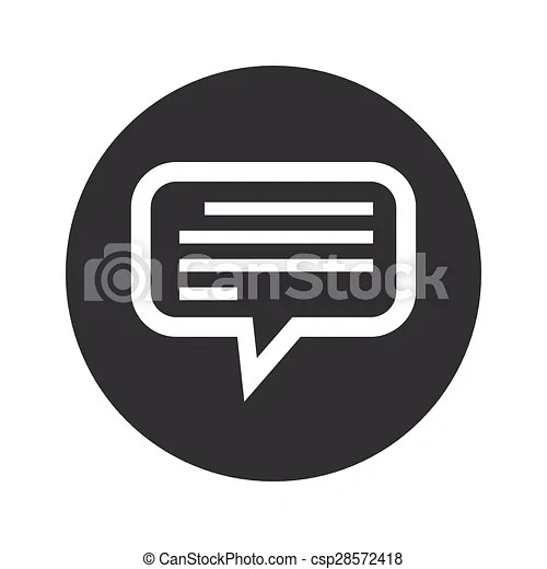 Monochrome round text message icon Image of chat bubble with text - cool text message art