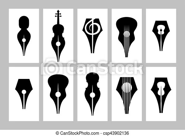 Monochrome set of templates for business card with nib, guitar - treble clef template