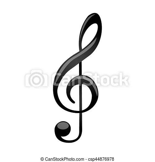 Monochrome silhouette with sign music treble clef vector illustration