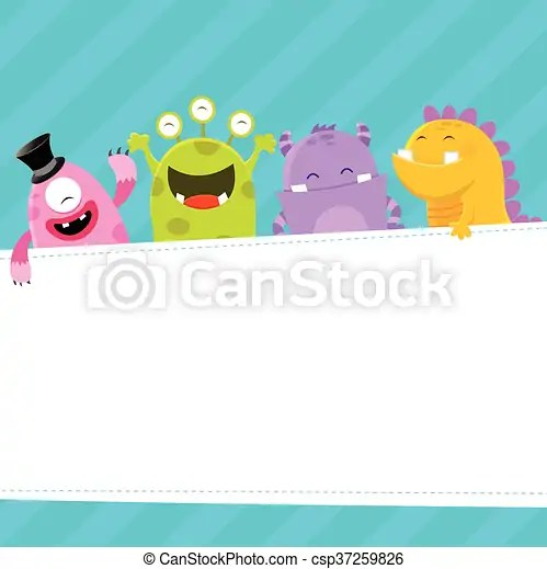 Monster template Cute monsters with blank paper vector