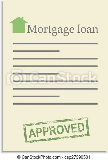Vector Clipart of Mortgage loan document with approved stamp - loan document