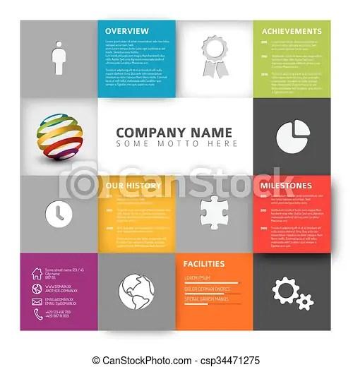Mosaic company profile template Vector mosaic company infographic - profile company template
