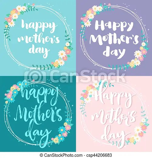 Mother day colorful cards set Happy mother day greeting cards set - mother sday cards