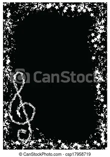 music border music note on black background - black border background