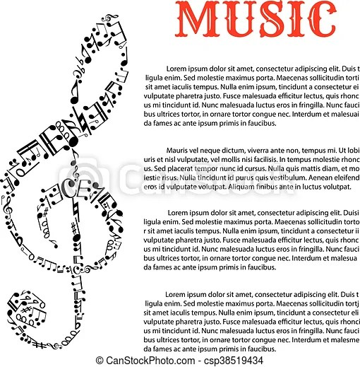Music infographic template with treble clef Music and sound - treble clef template