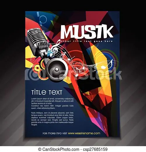 Music party flyer design Vector music party brochure flyer template