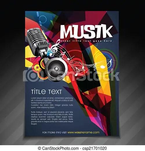 Music party flyer design Vector music party brochure flyer - music brochure