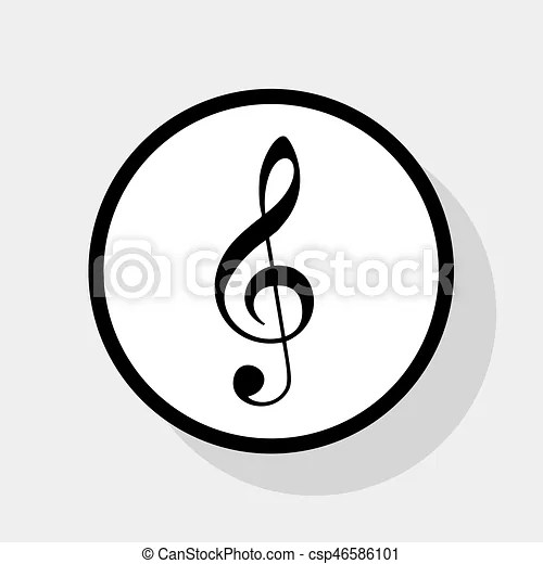 Music violin clef sign g-clef treble clef vector flat black icon - clef music
