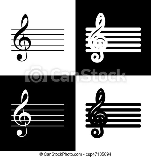 Music violin clef sign g-clef vector black and white icons and - clef music