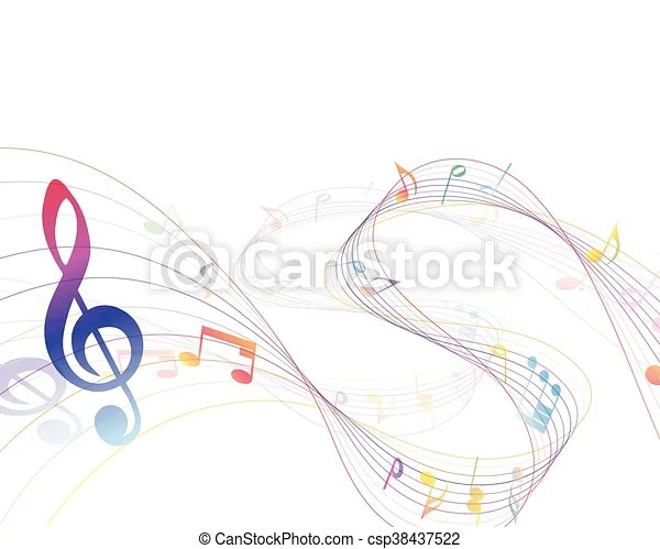 Musical design elements from music staff with treble clef vector
