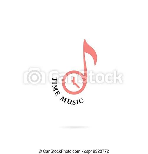 Musical note sign and clock icon vector logo design templatedesign