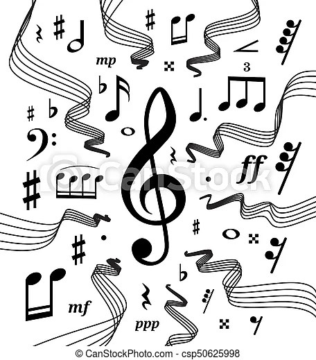 Musical staves illustration with music notes and symbols Wavy music