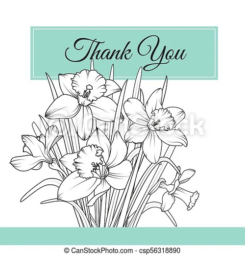 Narcissus daffodil flowers bouquet thank you card Narcissus