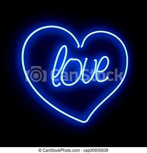 Neon heart with inscription love on a black background Neon blue