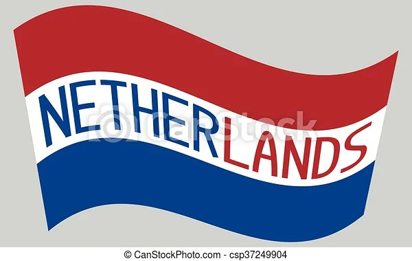 Netherlands flag waving with word netherlands on gray background