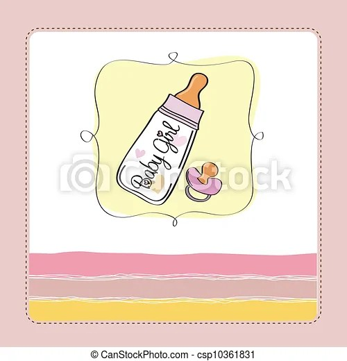 New baby girl announcement card with milk bottle and vectors
