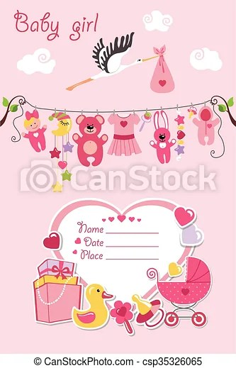 New born baby girl card shower invitation New born baby girl